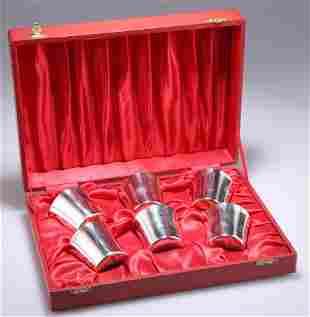 A SET OF SIX ELIZABETH II SILVER BEAKER CUPS,