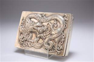 A LARGE CHINESE EXPORT SILVER CIGARETTE BOX,by