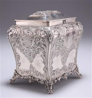 A LARGE VICTORIAN SCOTTISH SILVER TEA CADDY,by