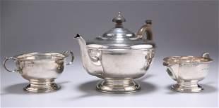 A GEORGE V SILVER THREE-PIECE TEA SERVICE,by