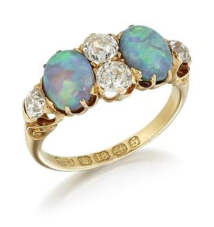 A VICTORIAN 18CT GOLD BLACK OPAL AND DIAMOND RING, two