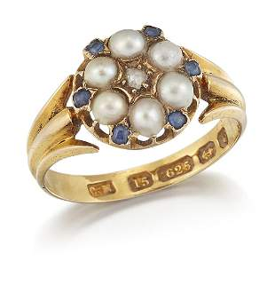 A VICTORIAN 15CT GOLD SPLIT PEARL, SAPPHIRE AND DIAMOND