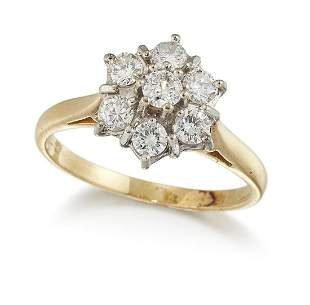 AN 18CT GOLD DIAMOND CLUSTER RING, seven round