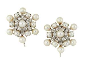 A PAIR OF CULTURED PEARL AND DIAMOND CLIP EARRINGS,