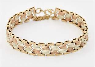 A 9CT TRI-COLOUR GOLD BRACELET, of rose and green