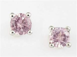 A PAIR OF SOLITAIRE PINK SPINEL EARRINGS, round-cut