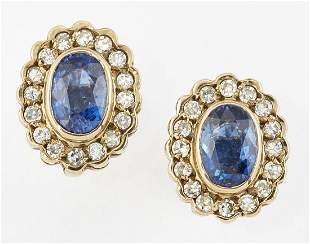A PAIR OF 9CT GOLD SAPPHIRE AND DIAMOND CLUSTER