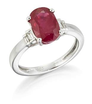 AN 18CT WHITE GOLD RUBY AND DIAMOND RING,an