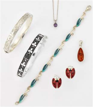 A GROUP OF JEWELLERY, comprising; A SHEILA FLEET SILVER