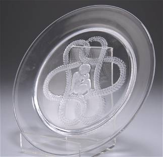 LALIQUE, A GLASS DISH, etched with central figure of a