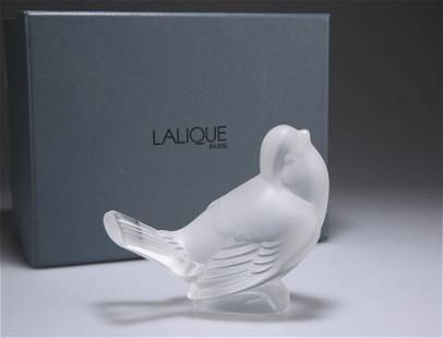 LALIQUE, A MODEL OF A SPARROW, clear glass, inscribed