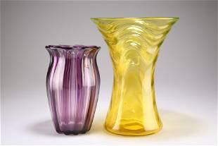 A THOMAS WEBB & SONS LARGE URANIUM YELLOW GLASS VASE,