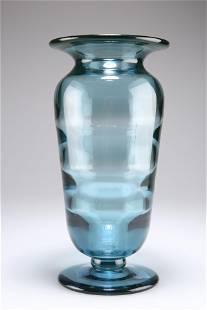 ELIS BERGH FOR KOSTA, A BLUE RIBBED OPTIC GLASS VASE,