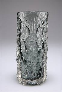 """WHITEFRIARS, A TEXTURED CYLINDRICAL """"BARK"""" GLASS VASE,"""