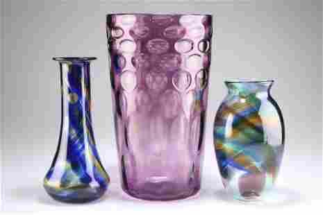 A RICHARDSONS AMETHYST OPTIC GLASS VASE, flared