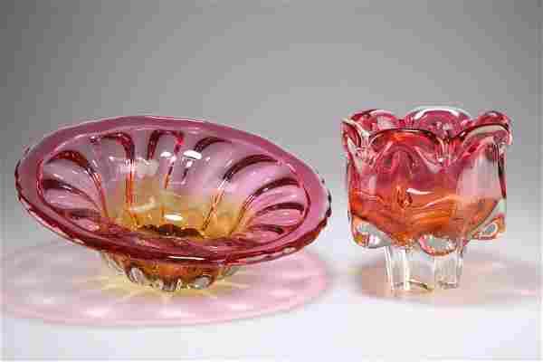 JOSEF HOSPODKA FOR CHRIBSKA, A CASED GLASS VASE, of