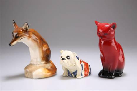 THREE ROYAL DOULTON ANIMAL MODELS, comprising Flambe