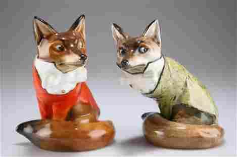 A ROYAL DOULTON MODEL OF A FOX, in hunting dress, HN