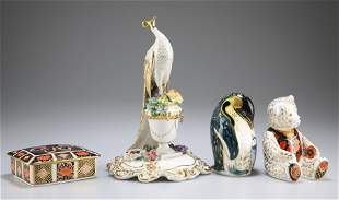 A GROUP OF ROYAL CROWN DERBY, comprising peacock, green