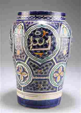 A LARGE PERSIAN TIN-GLAZED EARTHENWARE VASE, 19TH