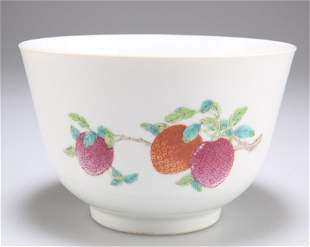 A CHINESE FAMILLE ROSE PORCELAIN BOWL, enamel painted