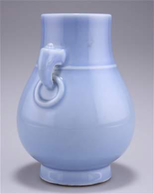 A CHINESE MONOCHROME LAVENDER-BLUE GLAZED PORCELAIN