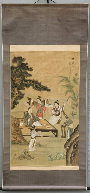 A LARGE CHINESE SCROLL, painted with figures and