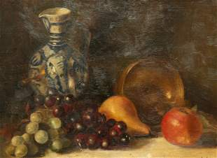 CONTINENTAL SCHOOL, STILL LIFE WITH FRUIT, oil on