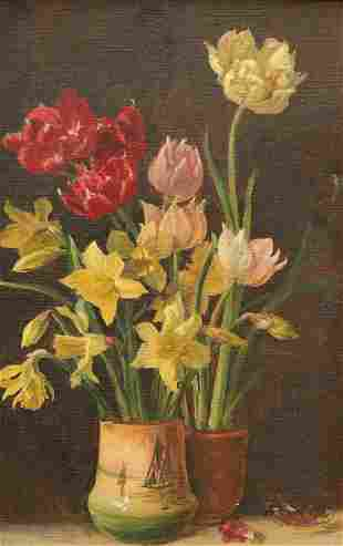 A GROUP OF FIVE WATERCOLOURS OF STILL LIFE, one with