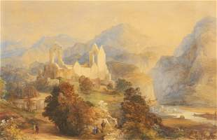 ENGLISH SCHOOL (19TH CENTURY), FIGURES AND RUINS IN A