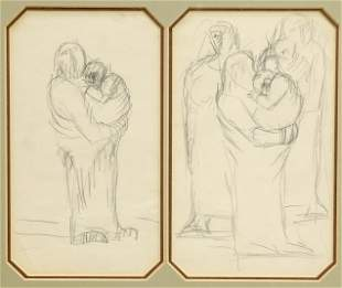 JOSEF HERMAN (1911-2000), FIGURES, unsigned, two pencil