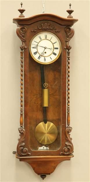 A 19TH CENTURY BURR WALNUT VIENNA PATTERN REGULATOR