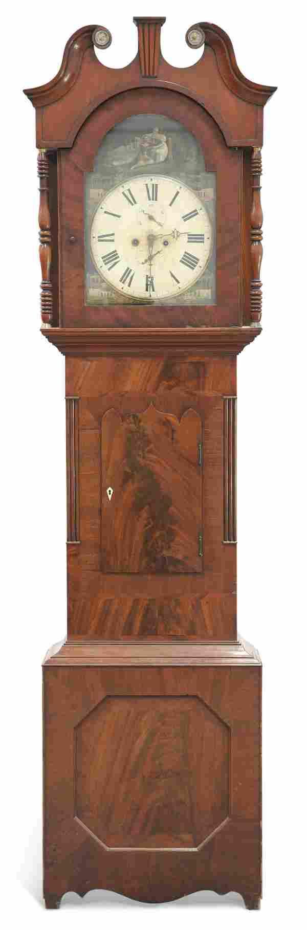 A 19TH CENTURY MAHOGANY EIGHT-DAY LONGCASE CLOCK, the