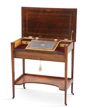 A LATE VICTORIAN STRING-INLAID ROSEWOOD WRITING DESK,