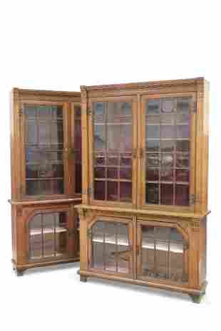 A LARGE PAIR OF LATE 19TH CENTURY OAK LIBRARY