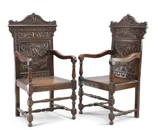 A PAIR OF 17TH CENTURY STYLE OAK WAINSCOT CHAIRS, LATE