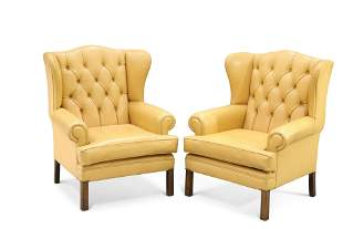 A PAIR OF GEORGIAN STYLE MUSTARD LEATHER UPHOLSTERED