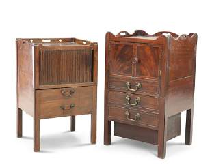 TWO GEORGE III MAHOGANY TRAY-TOP COMMODES, the first
