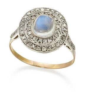 A MOONSTONE AND DIAMOND CLUSTER RING, a cushion