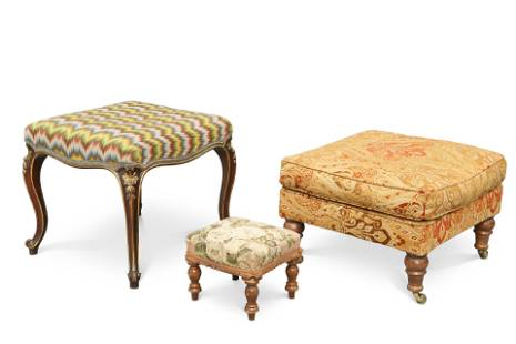 A VICTORIAN PARCEL-GILT CABRIOLE-LEG STOOL, with square