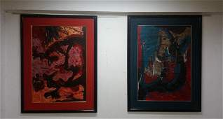 Two painting attributed to american painter Sam Francis