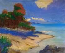 Antique landscape oil painting signed Frank V Dudley