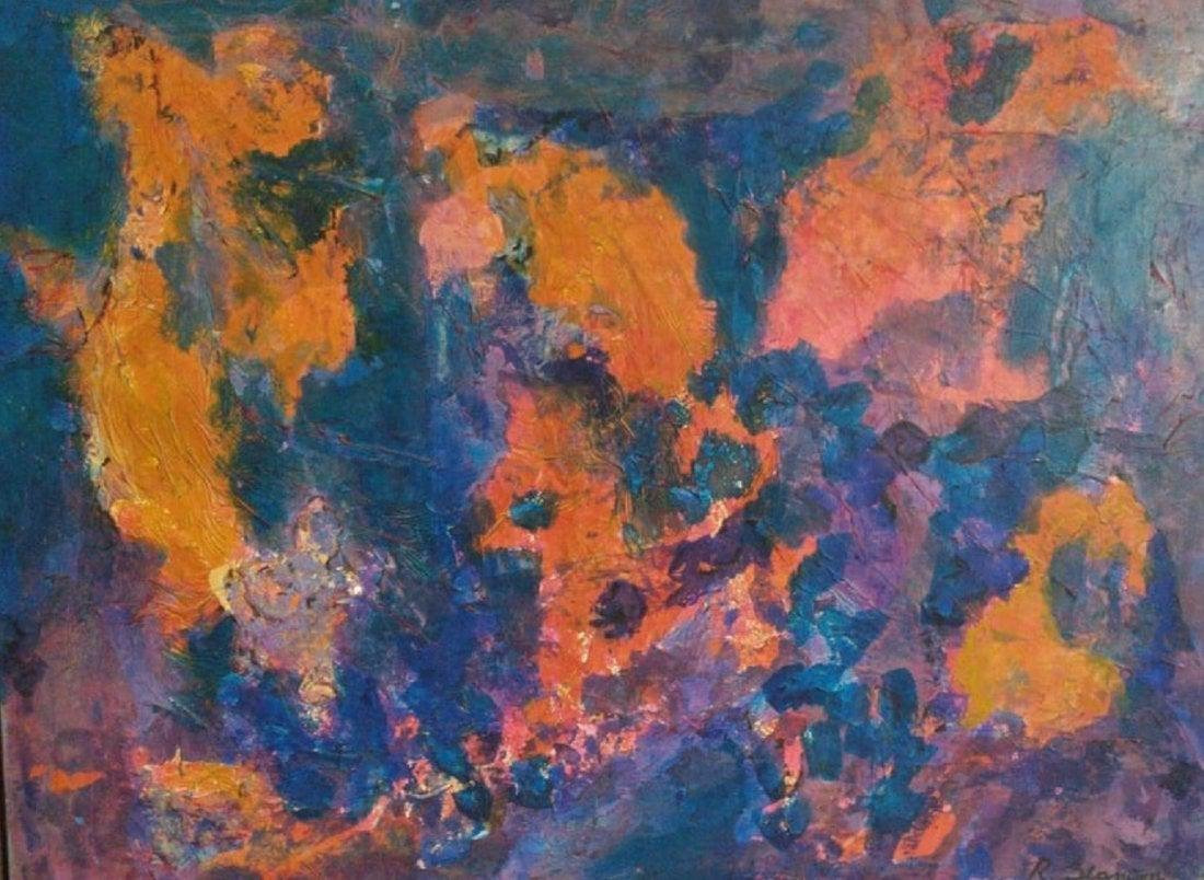 Antique oil - canvas Abstract signed by Ralph Stanton