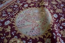 "ANTIQUE TABRIZ, LOVEBIRDS, 4'11"" X 6'11"", 150 X 210 CM"