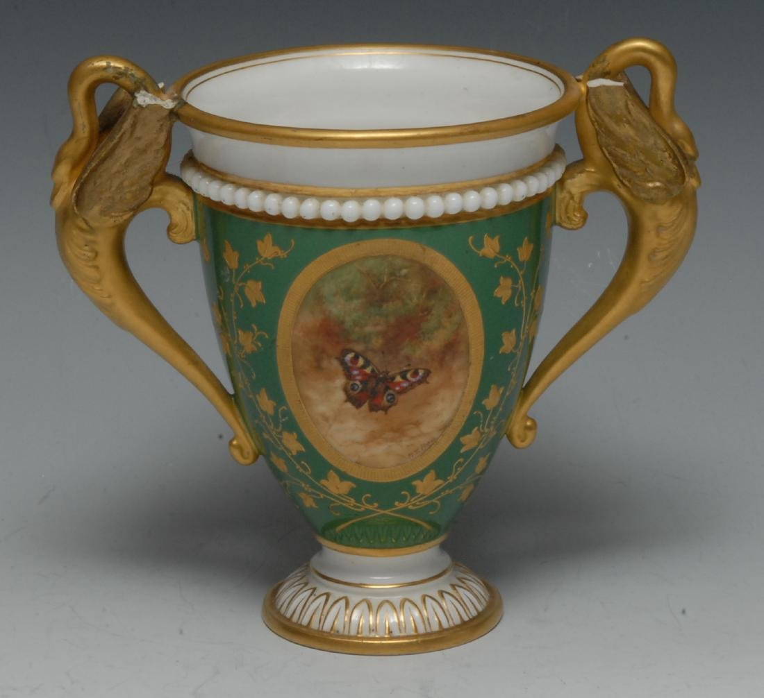A Royal Worcester two-handled vase, painted by R. T.