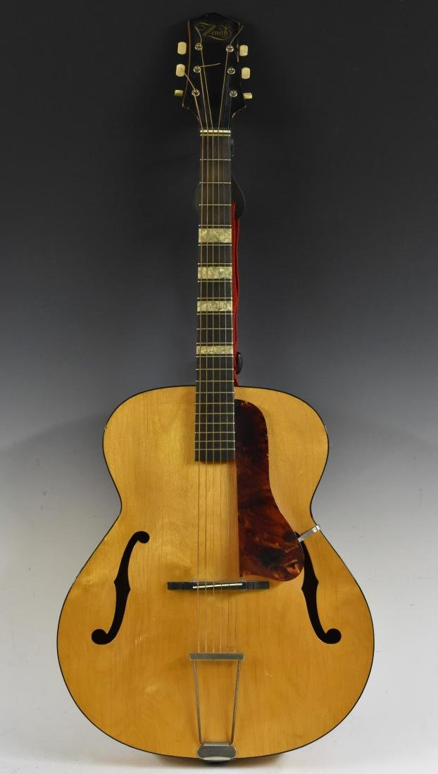 A Zenith archtop six-string acoustic jazz guitar, faux