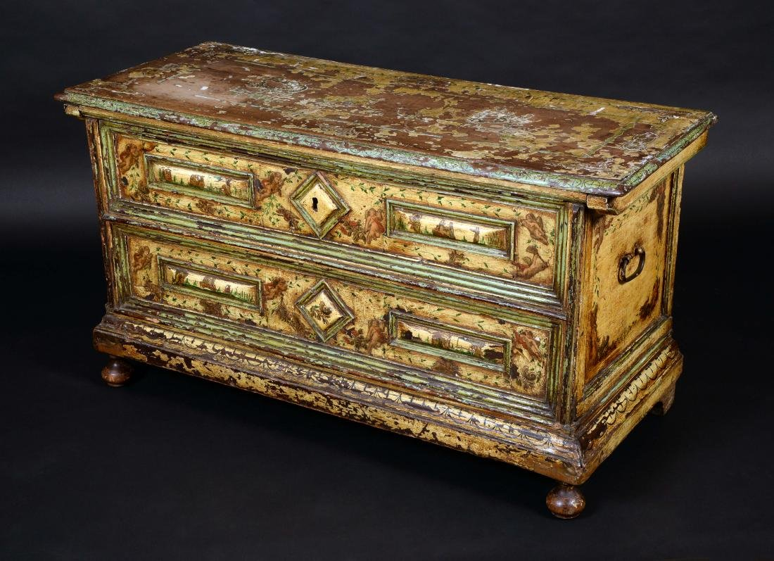 An early 18th century Italian painted chest, hinged top