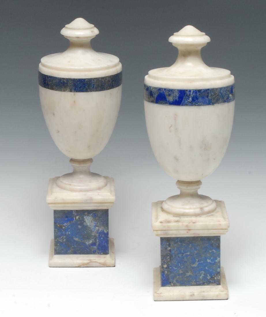 A pair of Grand Tour-type lapis lazuli and white marble