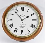 A 19th century mahogany circular military wall clock,