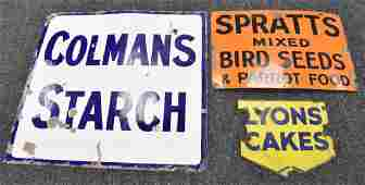 Advertising - a large rectangular enamel sign,